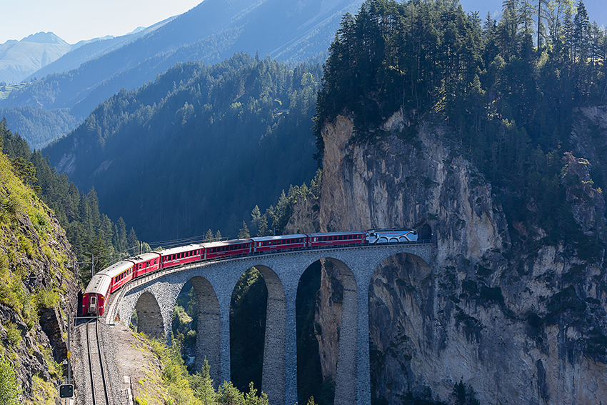 Unesco Mountain Train On Landwasser Viaduct