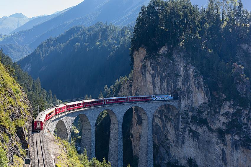 Unesco Mountain Train On Landwasser Viaduct